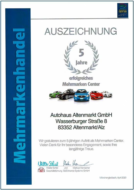 autohaus-altenmarkt-auzeichnung-fuenf-jahre-erfolgreiches-mehrmarken-center
