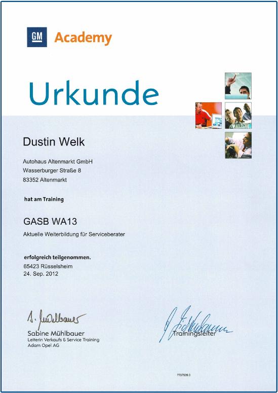 autohaus-altenmarkt-urkunde-gm-academy-training-weiterbildung-fuer-serviceberater-dustin-welk