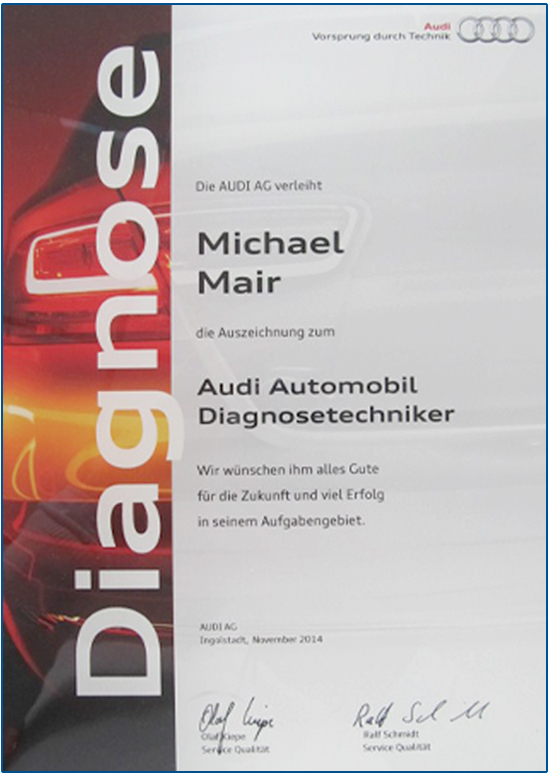 autohaus-altenmarkt-zertifikat-audi-automobil-diagnosentechniker-michael-mair